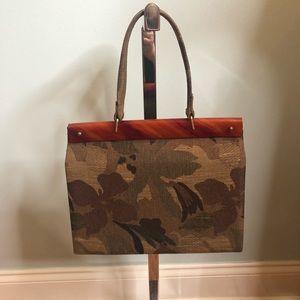 Handbags - Olive green handbag with tortoise shell accent